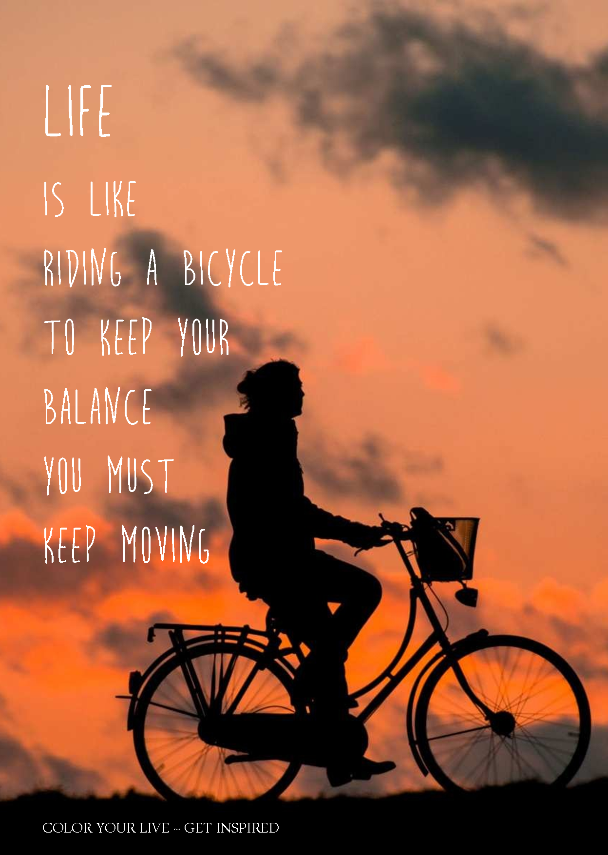 Color Your Life Quotes Life Is Like A Bicyclemooie Quote  Tekst Voor Een Poster Of