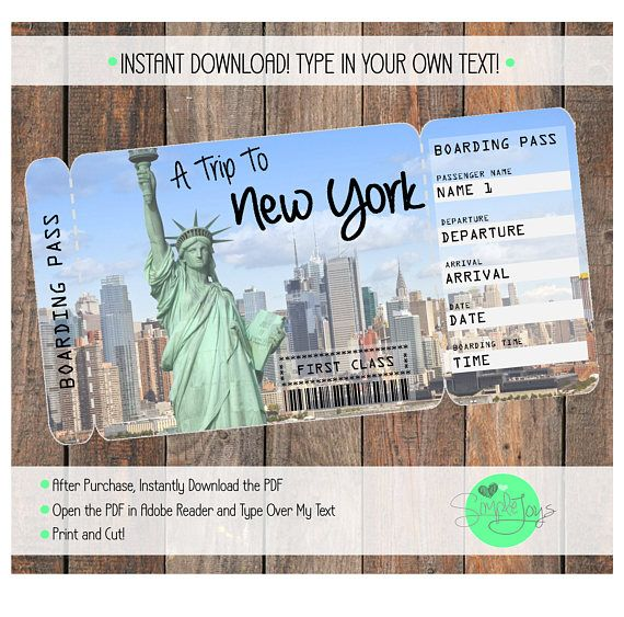Printable ticket to new york boarding pass customizable for Christmas trips to new york