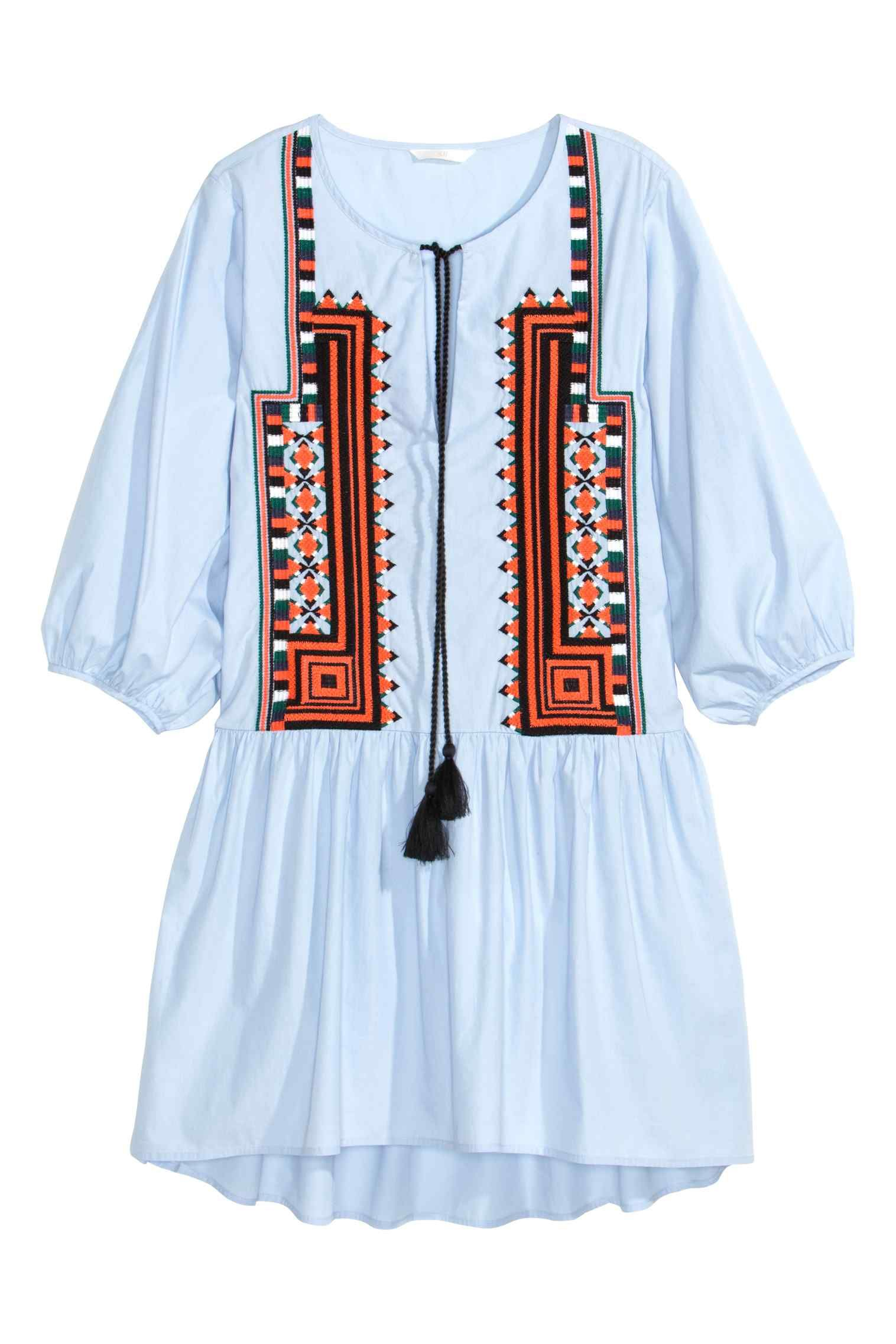 Embroidered cotton dress cotton and shorts