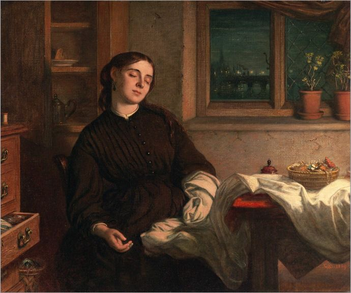 *Charles West Cope (1811-1890); Home Dreams 1869*