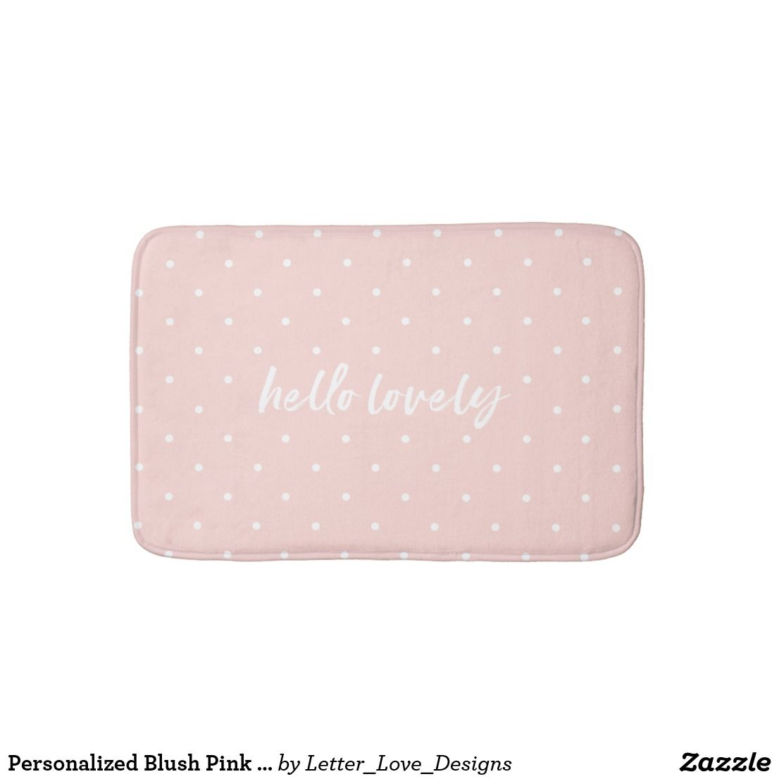 personalized blush pink bath mat small polka dots bath mat rugs