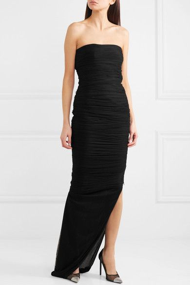 Strapless Ruched Silk-blend Tulle Gown - Black Tom Ford Sale Ebay SFvbXwr