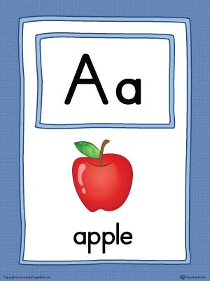 Letter A Large Alphabet Picture Card Printable Color Alphabet Pictures Alphabet Word Wall Cards Alphabet Word Wall
