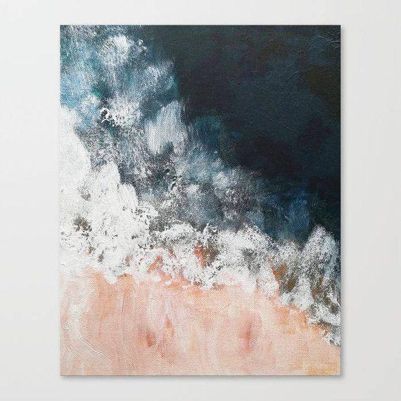 Photo of Blush pink and navy, Indigo pink nautical Ocean art, Navy Blue Wall Art, Ocean beach, Navy Decor, ocean aerial pink beach painting on canvas