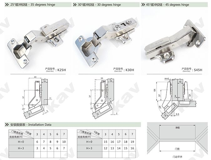 45 Degree Fitting Kitchen Cupboard Door Hinges S45 Installation Data
