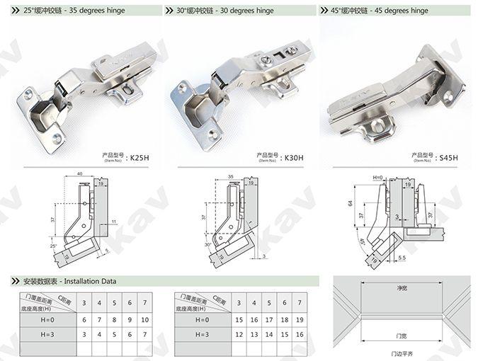 Kitchen Door Hinges Cabinet Wholesale 45 Degree Fitting Cupboard S45 Installation Data
