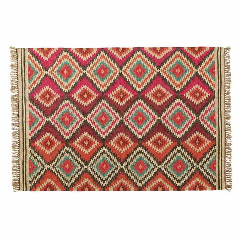 Woollen Woven Rug Multicoloured 160 X 230cm Acapulco Geflochtener Teppich Teppich Bunt Teppich