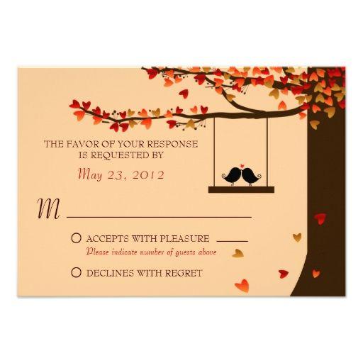 Love Birds Falling Hearts Oak Tree RSVP Custom Invitation