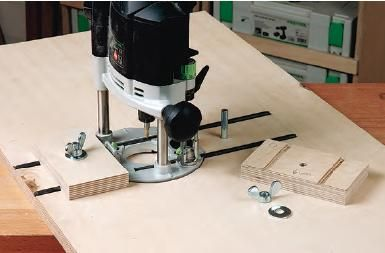Fastening router table blocks to table blank