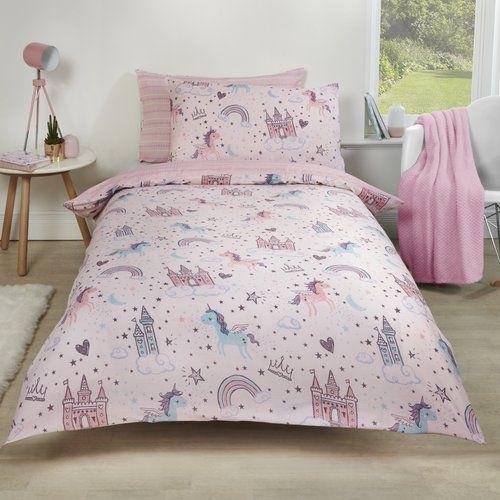 Dreamscene Flying Unicorn Duvet Set Blue Purple White Pink-Double