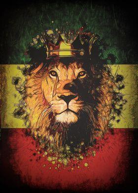 'King Rasta Lion' Metal Poster Print - JP Voodoo | Displate