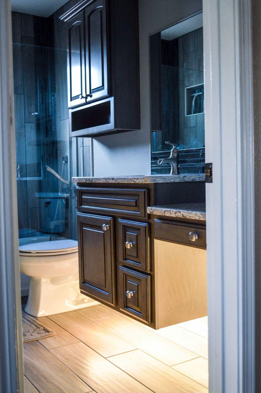 Floating cabinets, adjustable under-cabinet lighting, wood-look ...