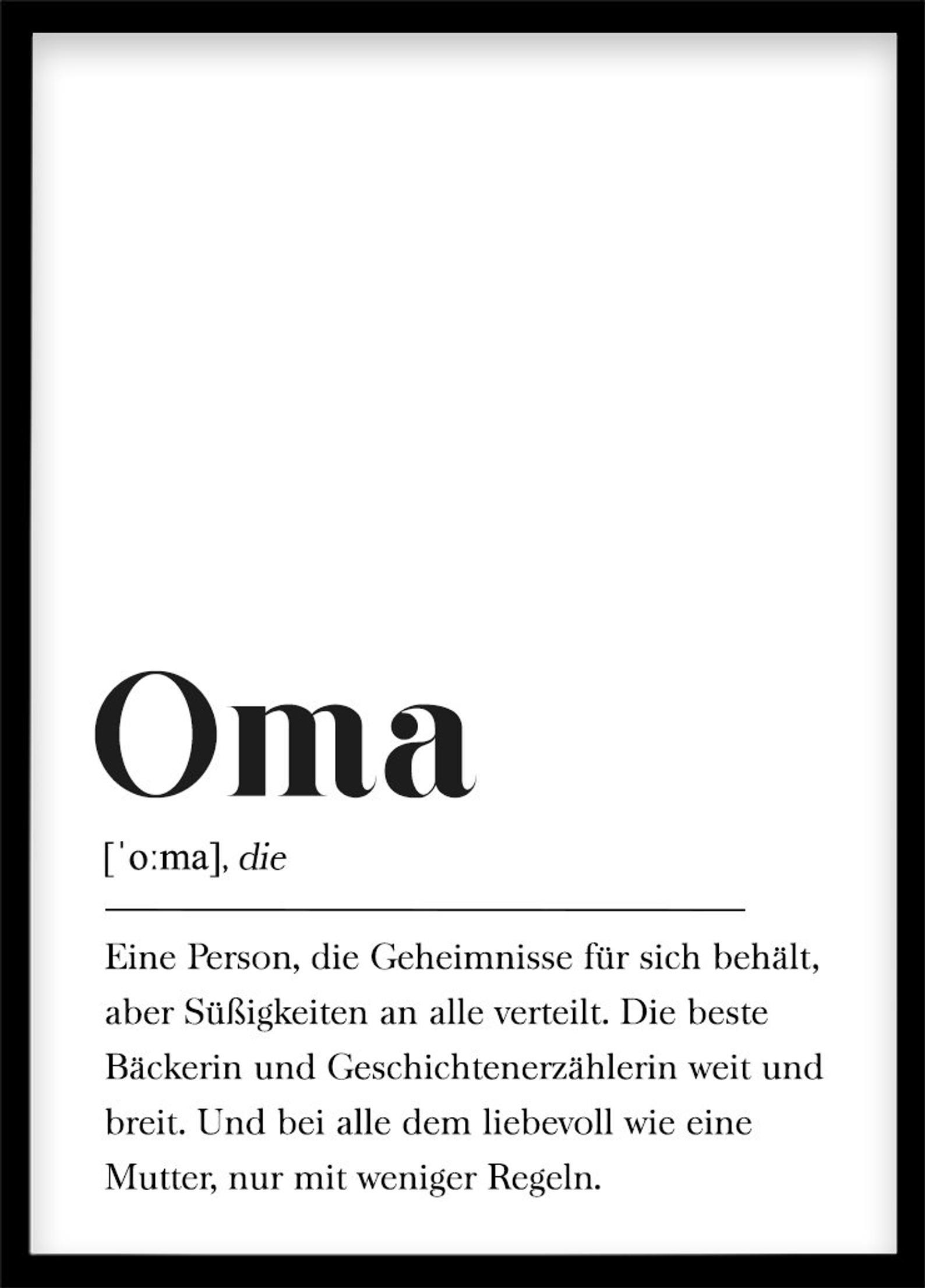 Oma Definition, Geschenk für Großmutter für Großeltern Poster mit Text, Skandinavisch Schwarz Weiß #persönlichegeschenke