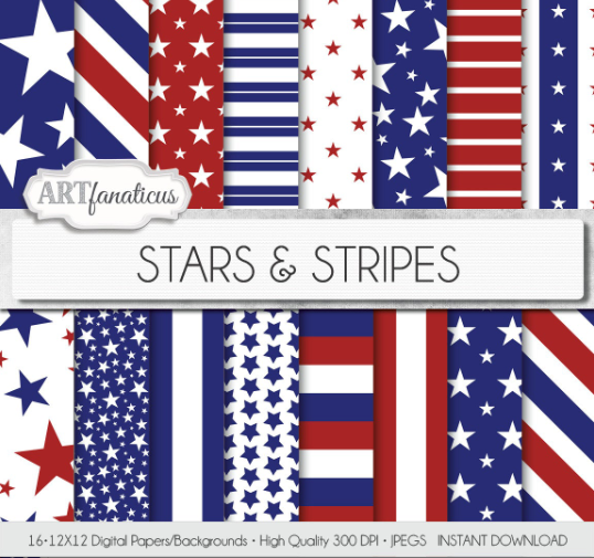 16 Red White And Blue Digital Papers Stars Stripes Red Stars Blue Stars Red Stripes Blue Stripes Pe Digital Paper Paper Stars Background For Photography