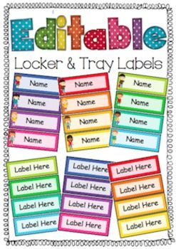 Editable Locker and Tray Labels  For My Classroom