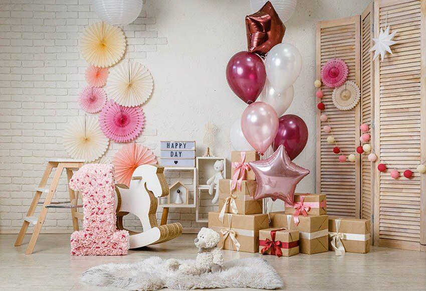 خلفية رخيص اشتري مباشرة من المورد بالصين الاطفال حزب خلفية الطفل 1st عيد ميلاد صورة خلفية الفينيل بالون Mylar Balloons Paper Pinwheel Wall Hanging Wall Decor