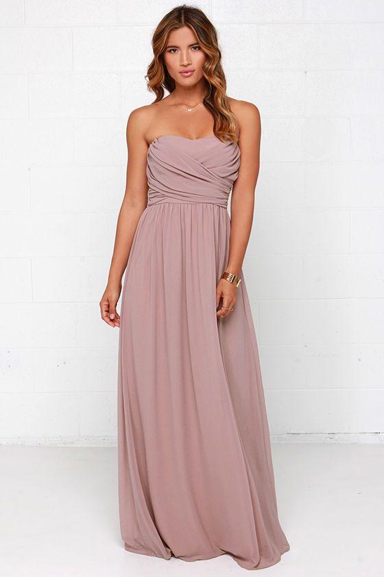 Royal Engagement Strapless Taupe Maxi Dress | wear me pour la femme ...