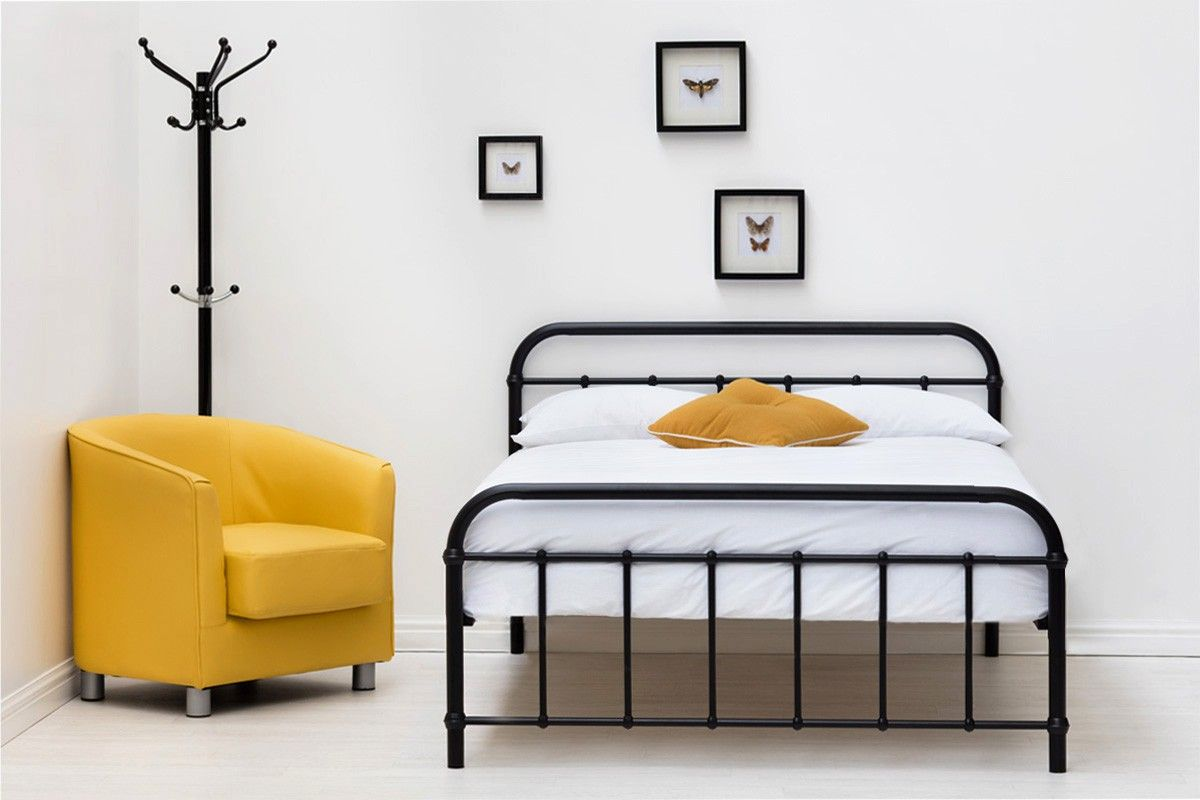 Henley Victorian Hospital Style Black Metal Bed Frame - Single ...