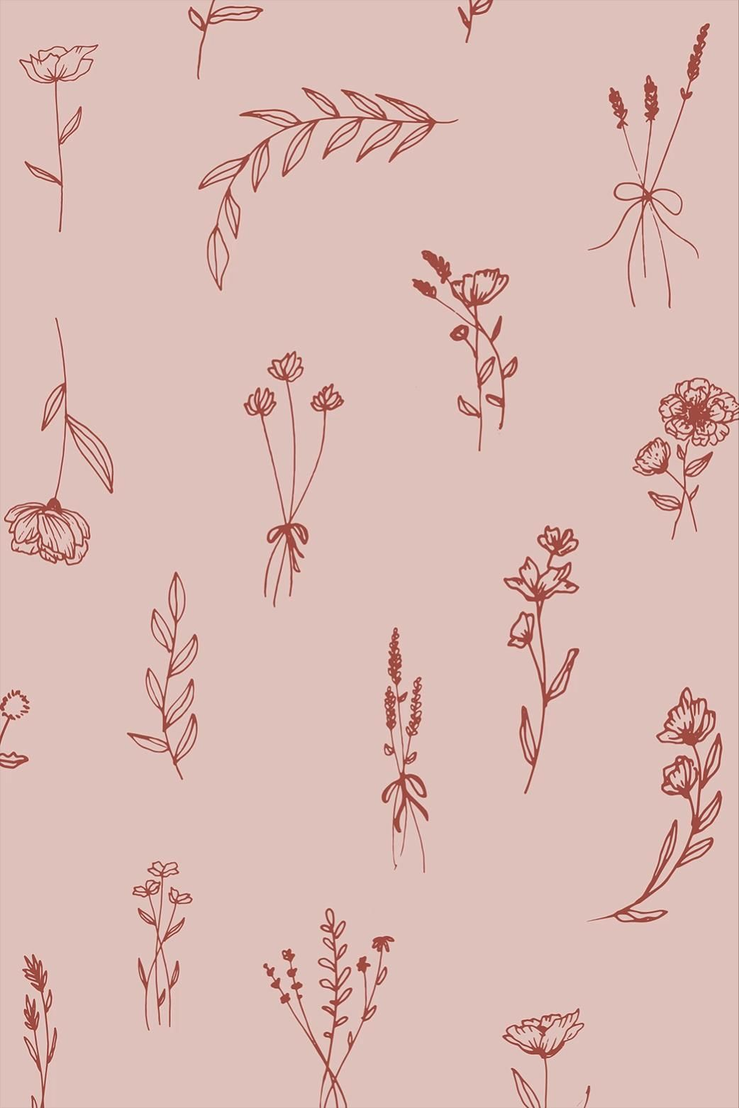Modern Romantic | Minimal pink & red floral patter