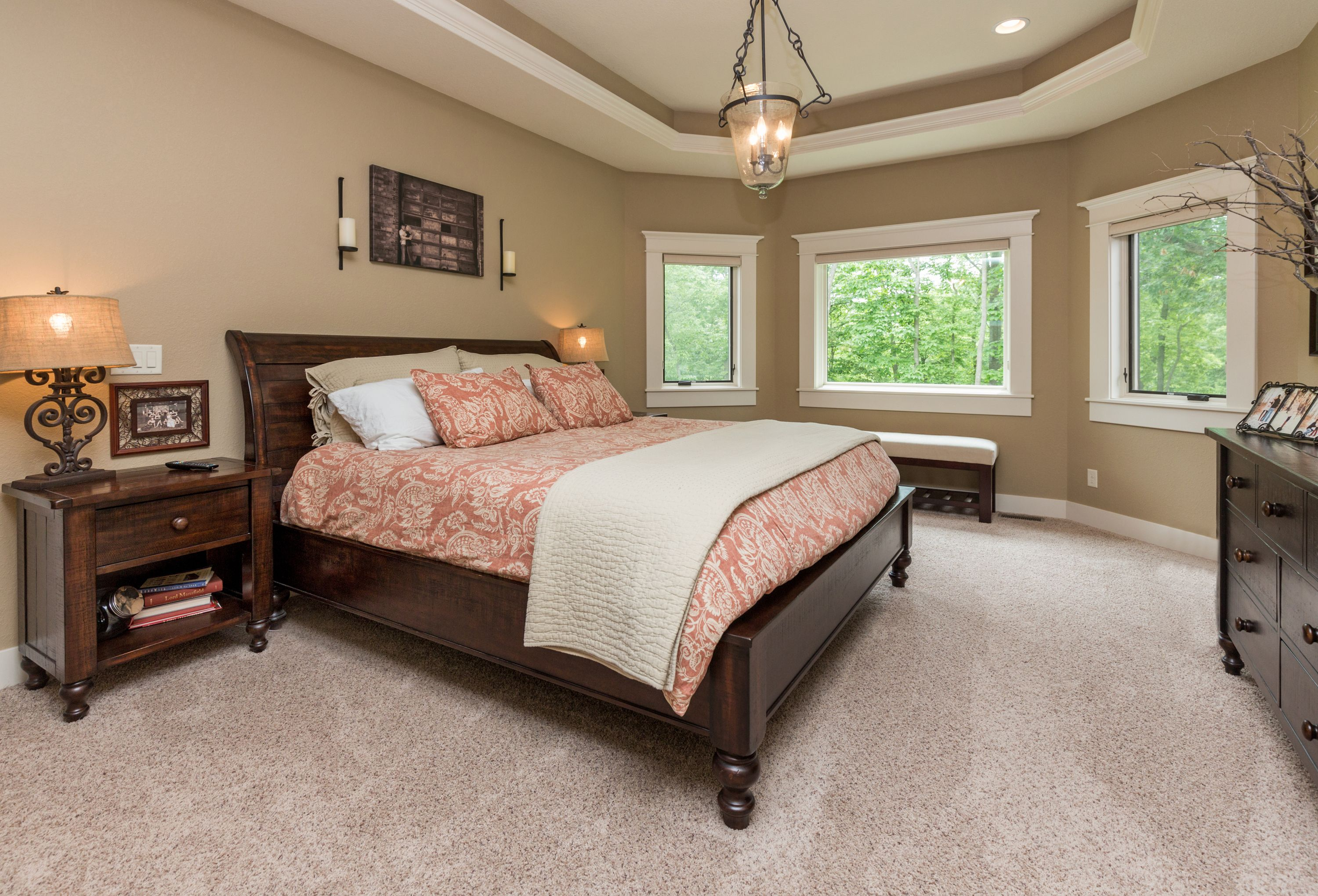 tray ceiling, decorative light above bed Home, Home