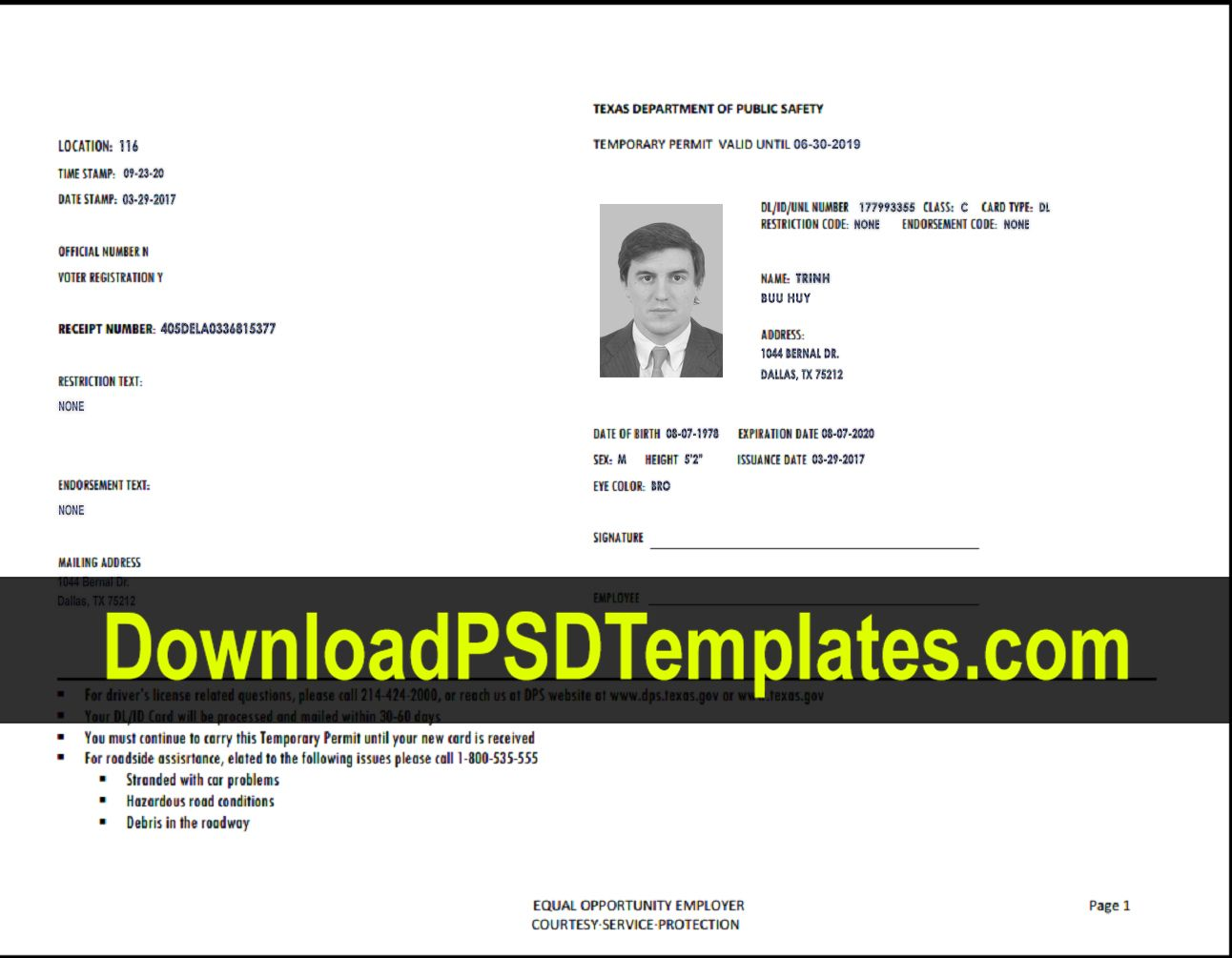 Texas Temporary Permit Template Psd For Texas Id Card Template In 2020 Id Card Template Card Template Note Card Template