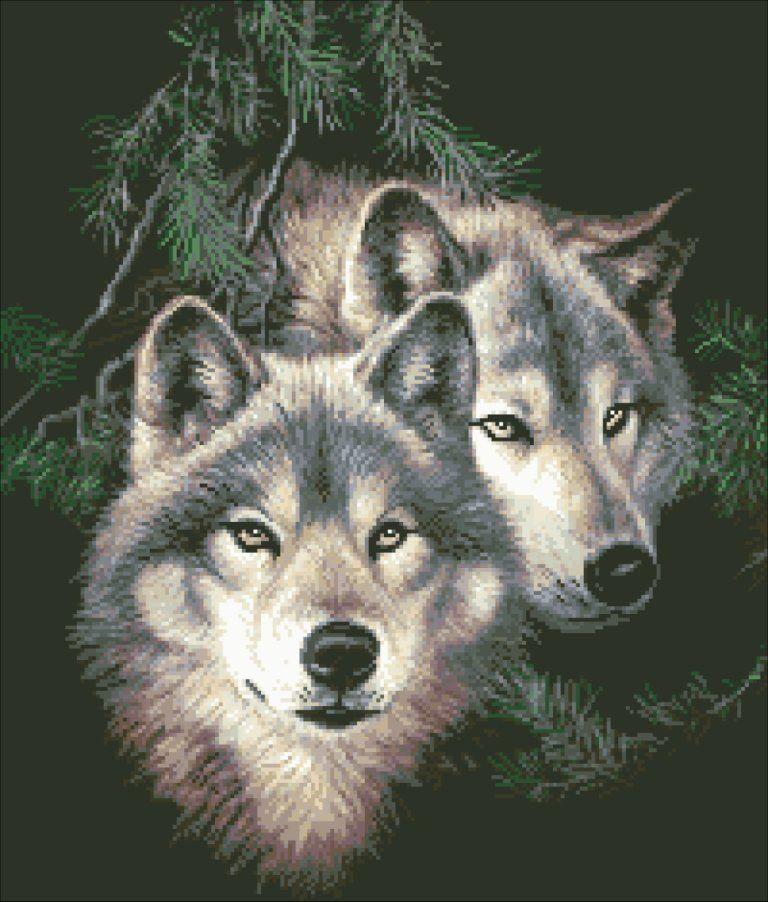 Животные вышивка волки