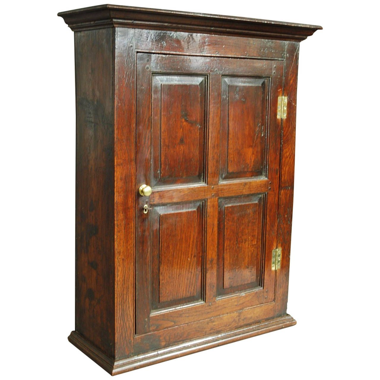 Early 18th Century Oak And Fruitwood Hanging Cupboard 1stdibs Com Vintage Cupboard Gothic Furniture Primitive Furniture