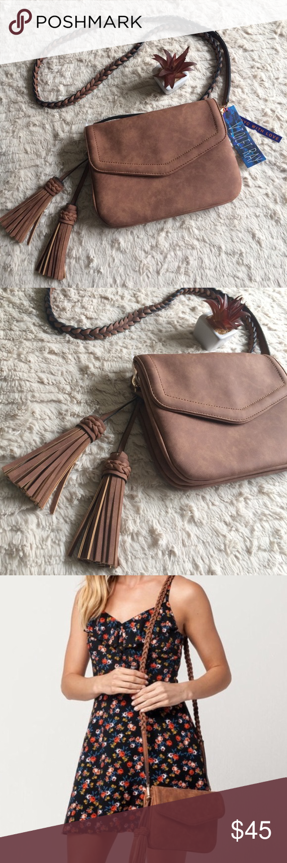 bf146f59ba80 Violet Ray Anette Crossbody Chestnut 🌰 Free People Line Brand- Violet Ray  Anette faux leather