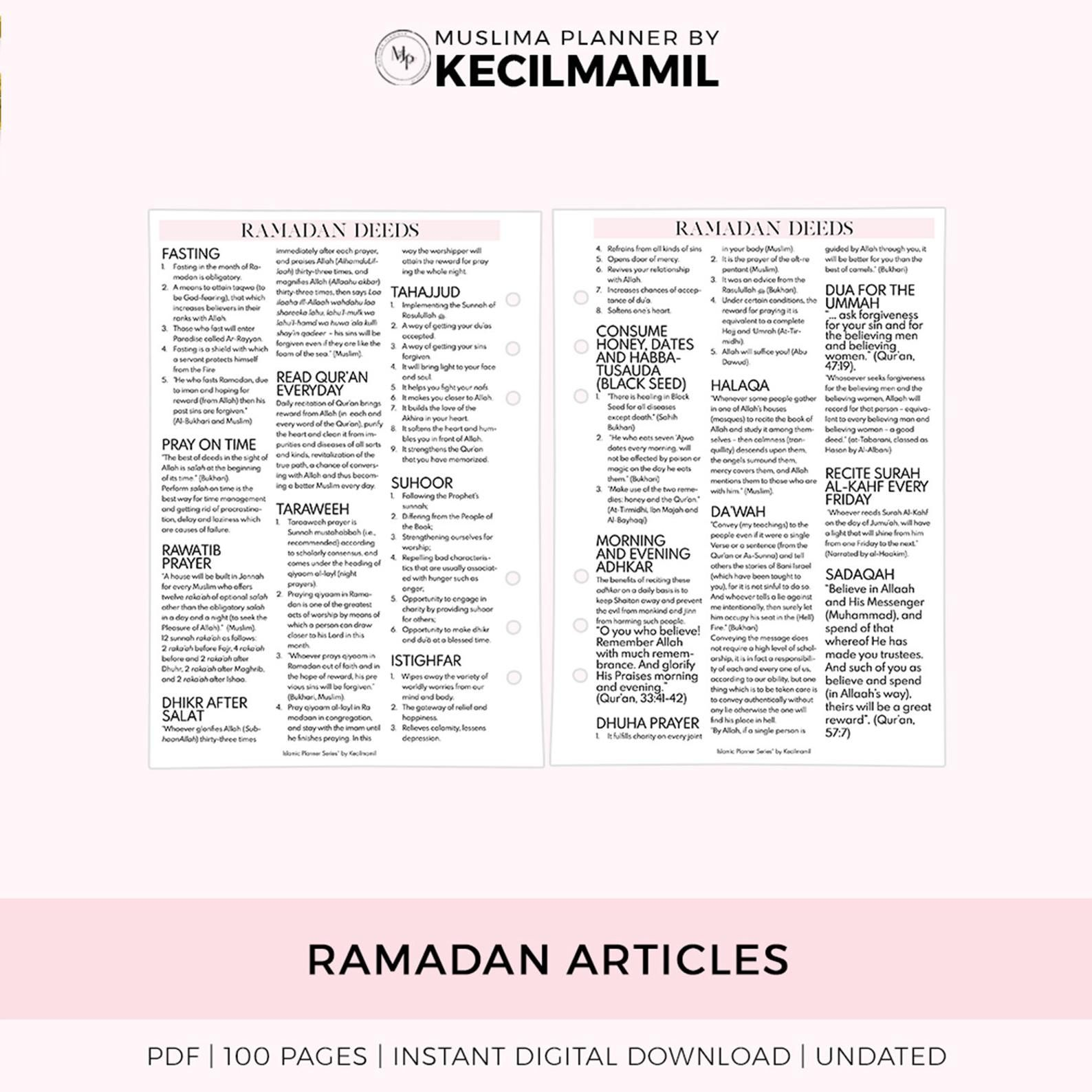 Ramadan Planner 2019 By Kecilmamil Printable Instant Download Pdf