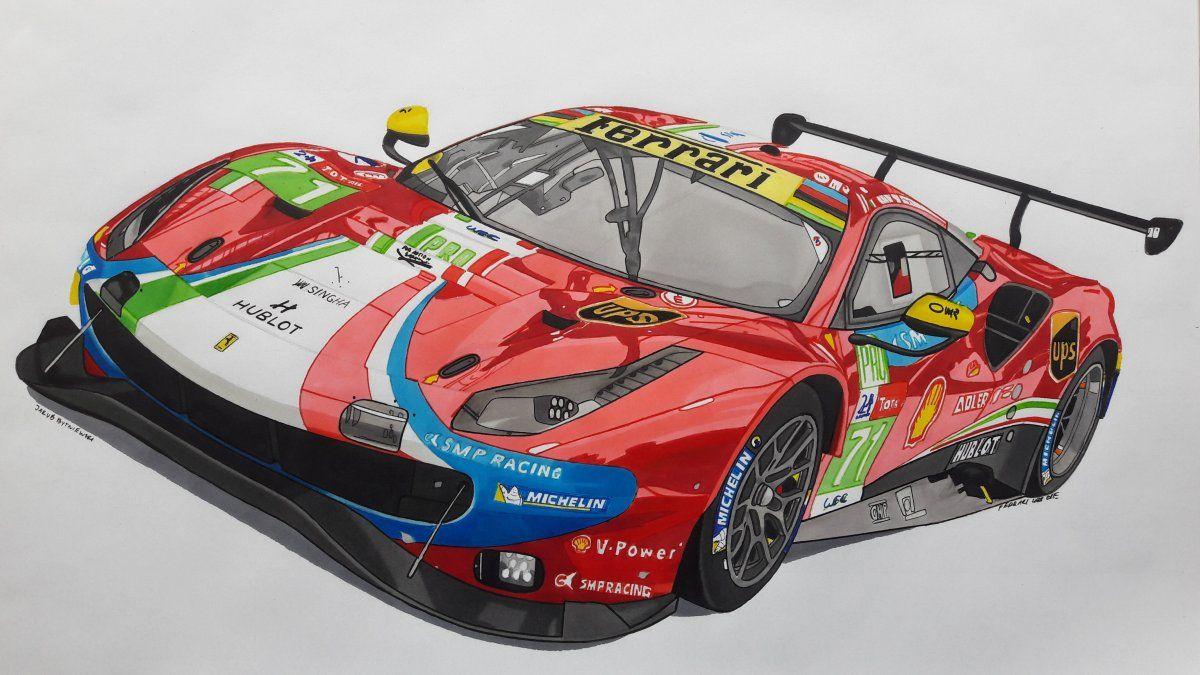Ferrari 488 Gte Evo Car Drawings Cool Car Drawings Ferrari