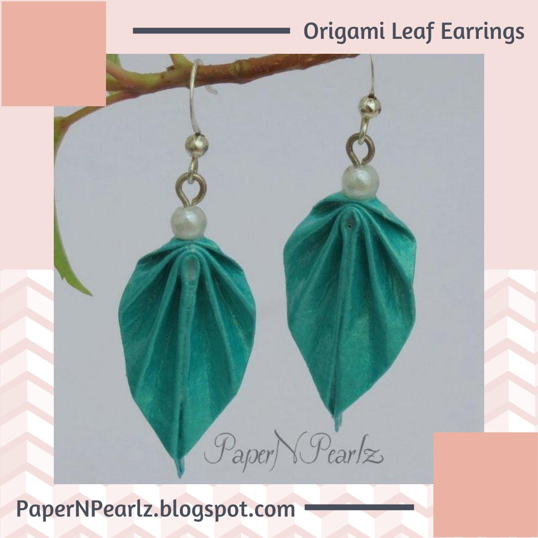 A pair of #origami #leaf #earrings in pearlised origami paper.  #origamipaper #paperart #paperjewelry #handcrafted #papernpearlz #origamiindia #DIY #creativediy  #origamiearrings #handmade #unique #oneofakind