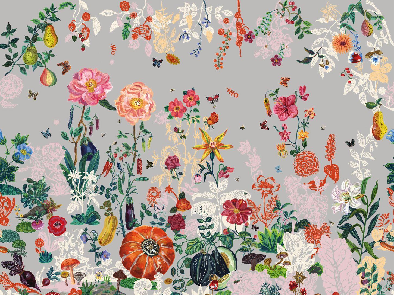 Blumen tapete jardin gris by moustache design nathalie - Dschungel tapete kinderzimmer ...