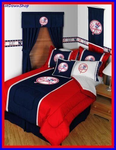 New York Yankees 5pc Mvp Full Comforter Sheets Bed Set By Mlb Http Www Amazon Com Dp B003j3rph6 Ref Cm Sw R P Baseball Bed Sports Bedding Baseball Comforter