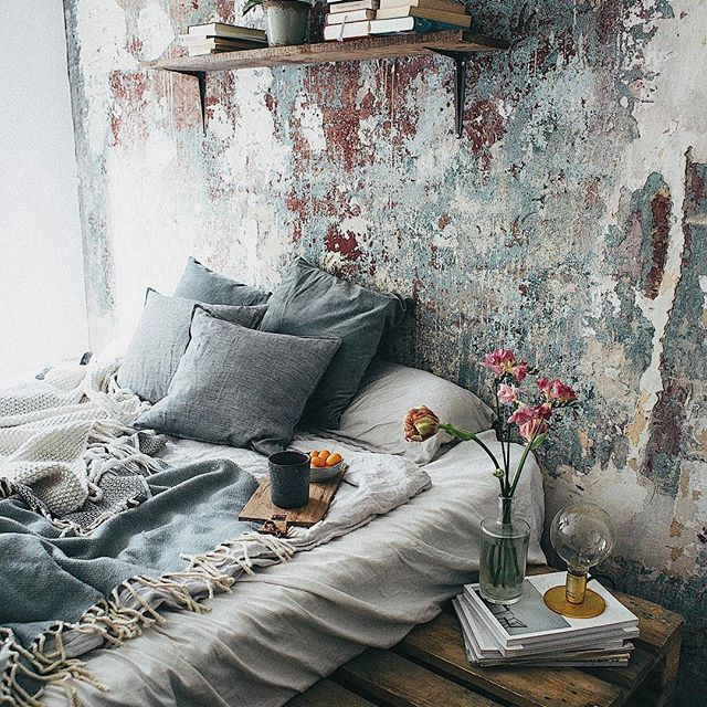 Boho Industrial Bed On Floor Pallet Bed Bohemian Bedroom Decor