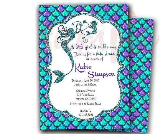 Mermaid Baby Shower Invitation   Mermaid Invitations   Under The Sea Baby  Shower   Little Mermaid Shower Invites   Baby Shower Girl Purple