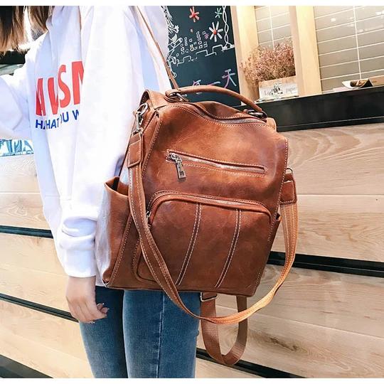 Photo of Vintage Leather Backpack Women Female Multifunction Schoolbag Rucksack Brown Large School Bags Teenage Girls Back Pack XA157H