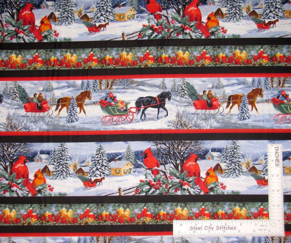 Bastel Kunstlerbedarf Happy Holidays Santa Sleigh Stripe Benartex Christmas Fabric By The 1 2 Yard Pgm Com Pe