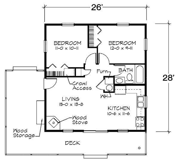 728 Square Feet 2 Bedrooms 1 Batrooms On 1 Levels Floor Plan