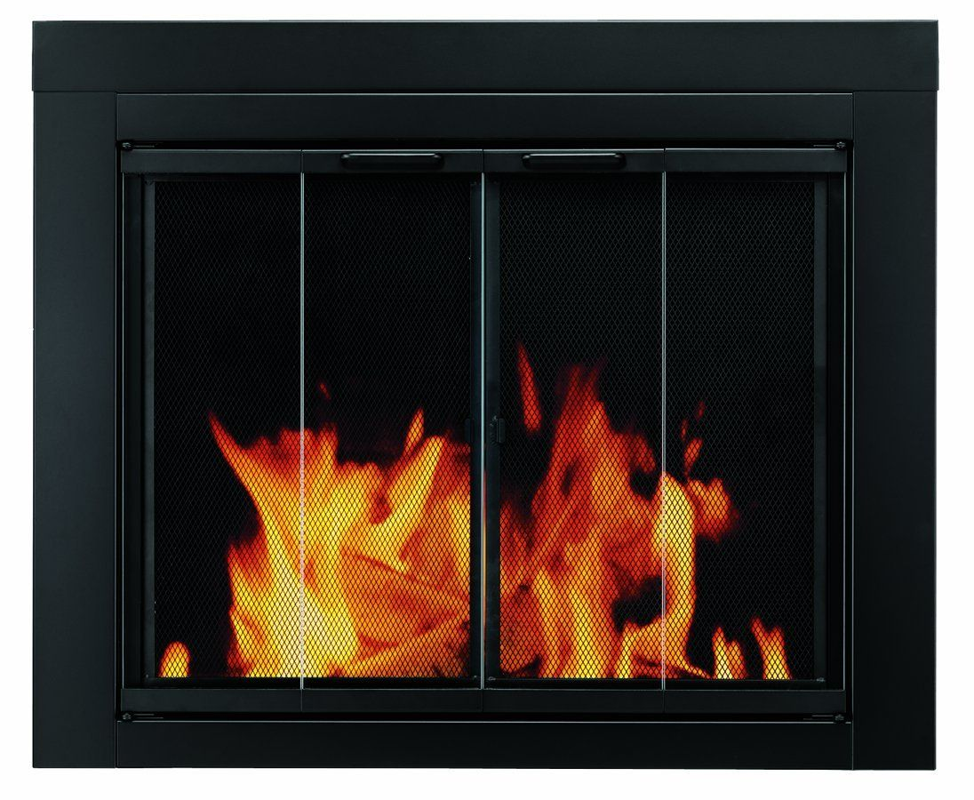 Pleasant Hearth AT Ascot Fireplace Glass Door Black Small