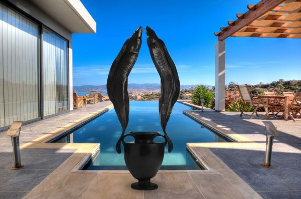 Bronze Garden Or Yard / Outside and Outdoor sculpture by artist Kirk McGuire titled: 'Guarding Atlantis (bronze Moray Eels Tropical Fish and Greek Urn statue)'