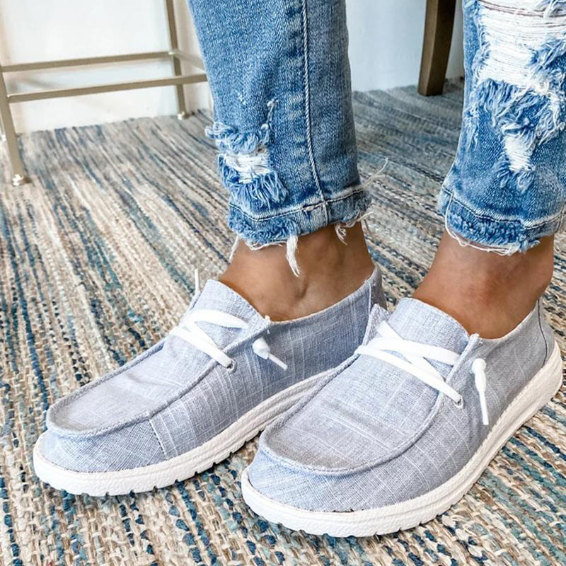 GRAY Women's Canvas Lace-Up Loafers