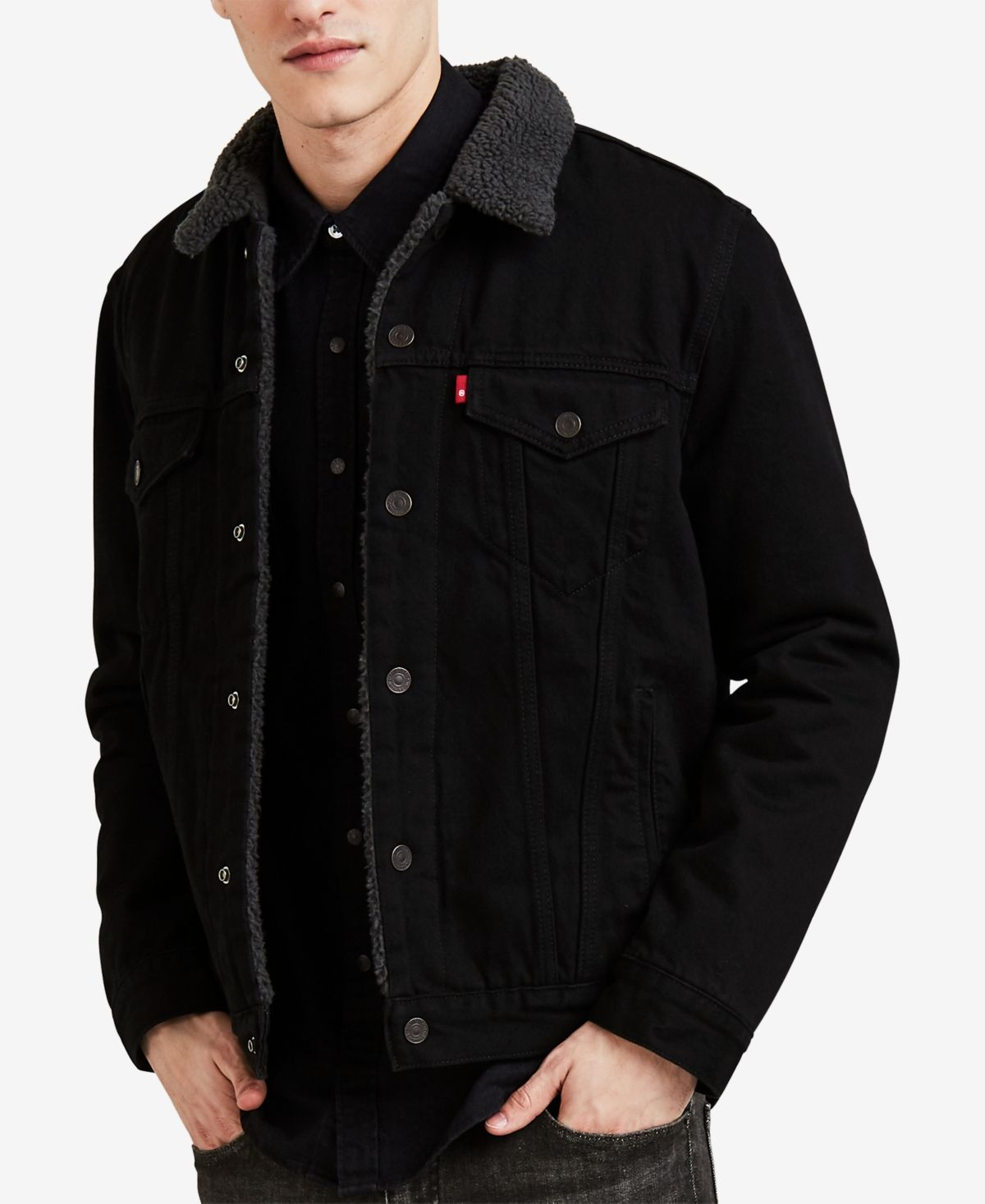 Levi S Men S Sherpa Denim Trucker Jacket Reviews Coats Jackets Men Macy S In 2020 Black Denim Jacket Men Jackets Men Fashion Trucker Jacket Men