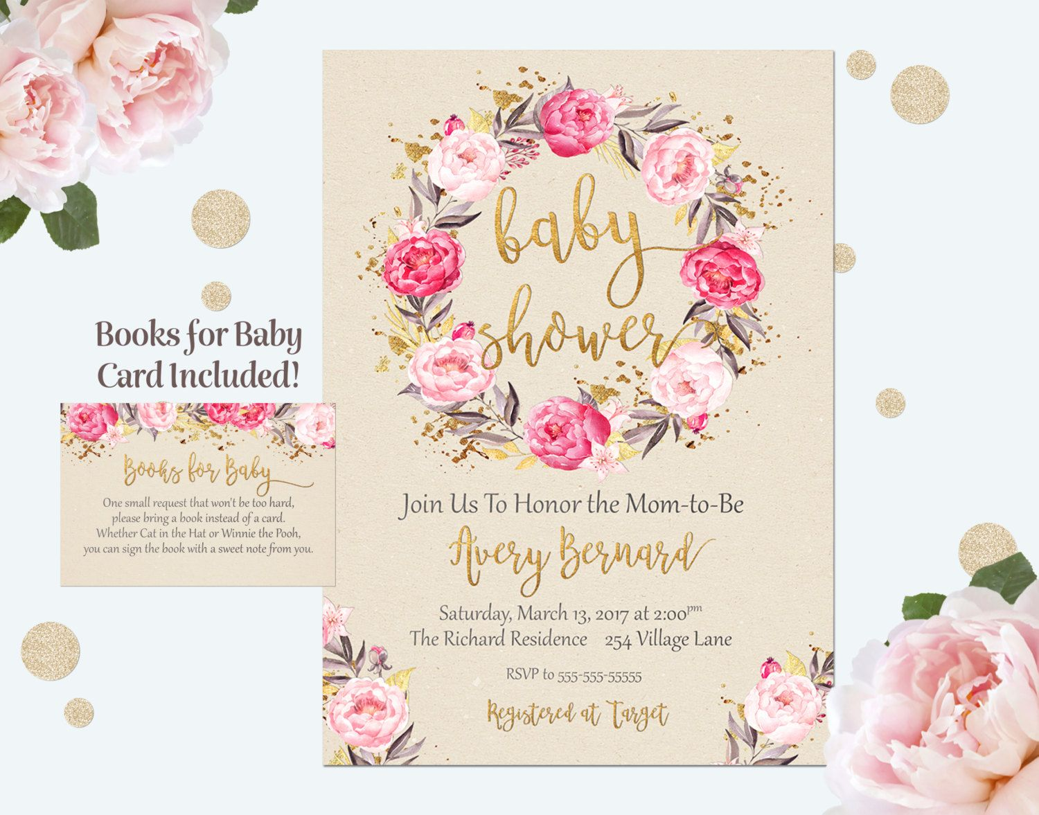 Baby Shower Invitation, Girl Baby Shower Invitation, Floral Baby ...