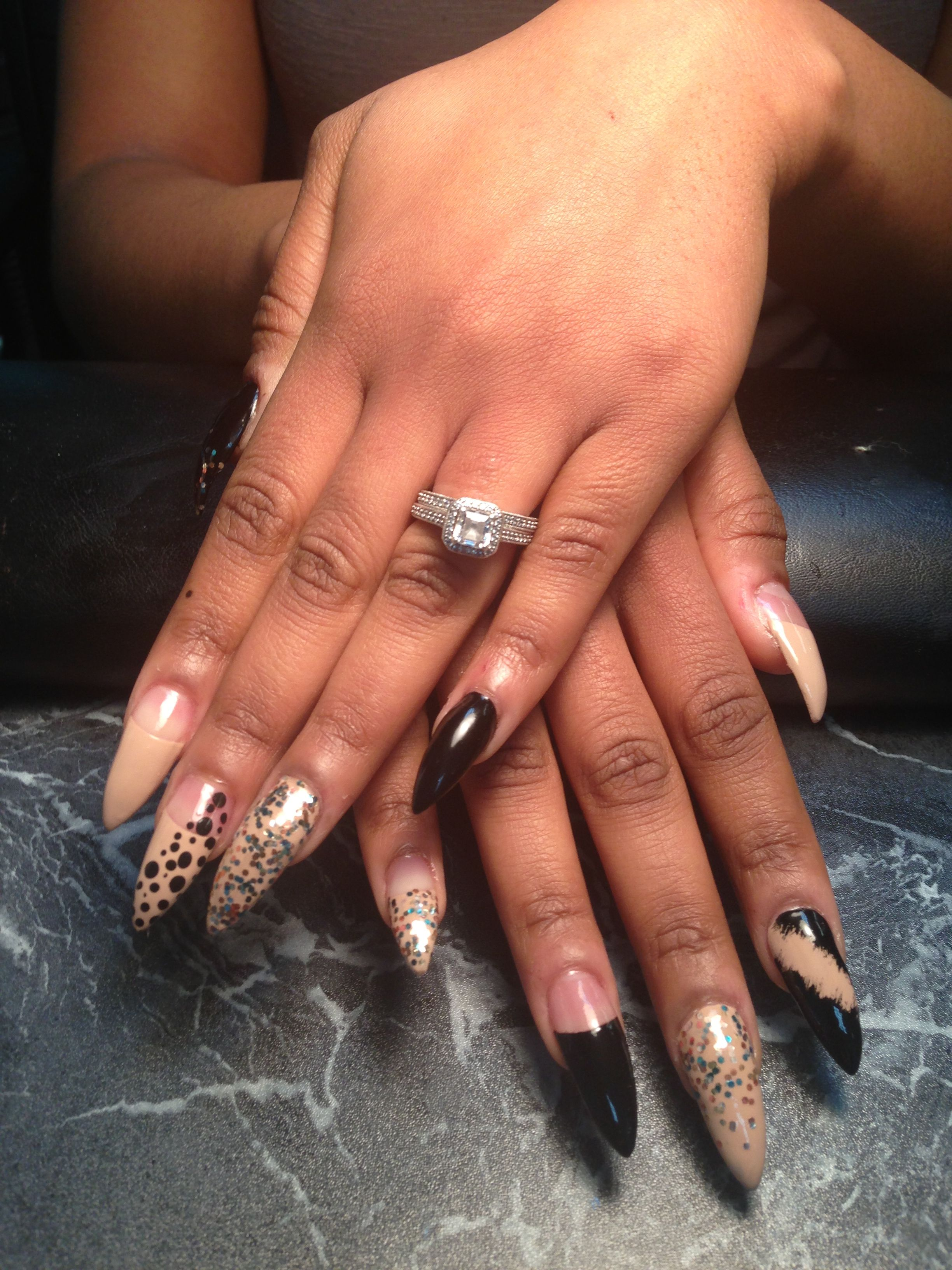 Long stiletto nails w/design!!! Nails By Queen!!! | Nails ...