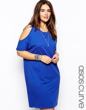 ASOS CURVE T-Shirt Dress With Cold Shoulder in Blue.  (For after swimming or the  Enlarging Asos, Discover Fashion, T Shirts Dresses, Tshirt Dresses, Of Asos Curves, Fashion Online, Curves T Shirts, Curves Tshirt, Cold Shoulder
