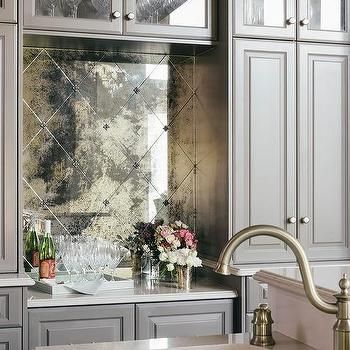 Gray Bar With Antiqued Mirrored Tiles Love Antique