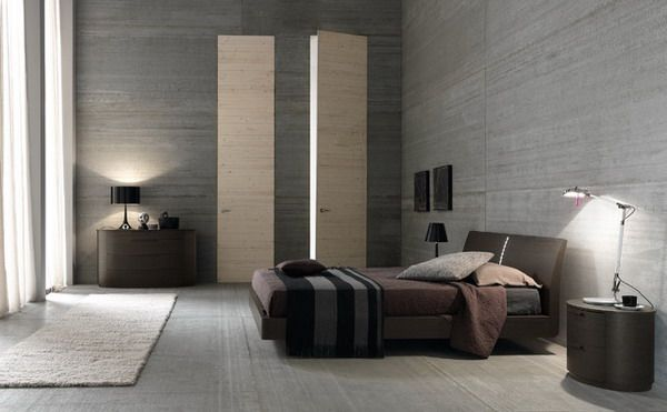 Modern Bedroom Design With Grey Tile Wall Color Scheme And Brown Leather  Bed Furniture   ArchiMagz