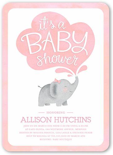 Little Elephant Girl 5x7 Custom Baby Shower Invitations Products