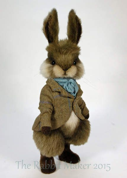 """Arthur By The Rabbit Maker - Arthur is made from green/brown alpaca with creamalpaca for his tummy and his face cheeks. He has brown faux fur for his arms, feet and inner ears. Hemeasures 13"""" to the tips of his ears. He has been scissor sculpted and airbrushed in shades of brown to create and enhance ..."""