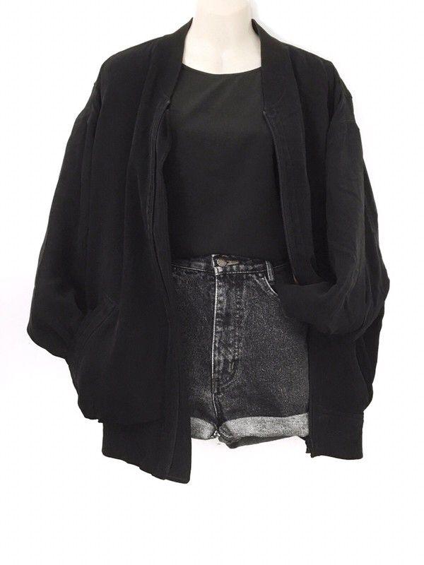 True Vintage Silk Blouson Bomber Jacket Silk XXL Oversize Urban Street Style Black